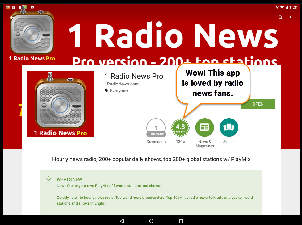 1 Radio News 4.8 Rating